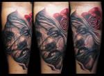 Realistic face rose tattoo