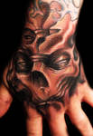 Freehand skull hand in sepia