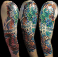 asian color tattoo by hatefulss