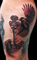 2 birds with key tattoo by hatefulss