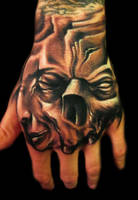 Freehand hand tattoo by hatefulss