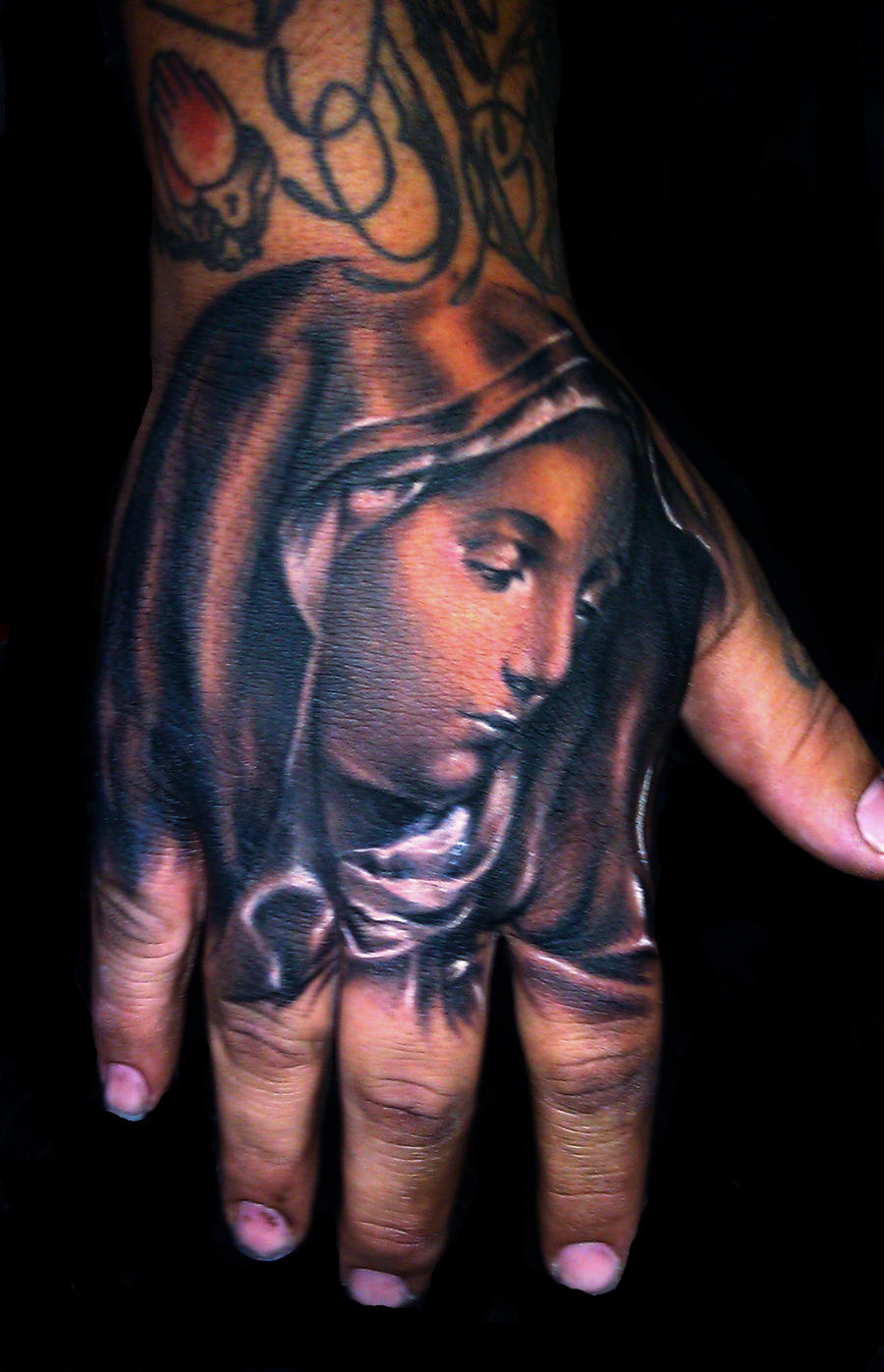 Virgin delorosa hand tattoo by hatefulss
