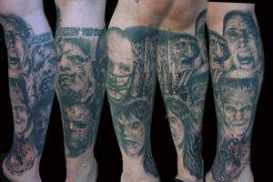 monster leg sleeve tattoo by hatefulss