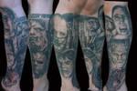 monster leg sleeve tattoo