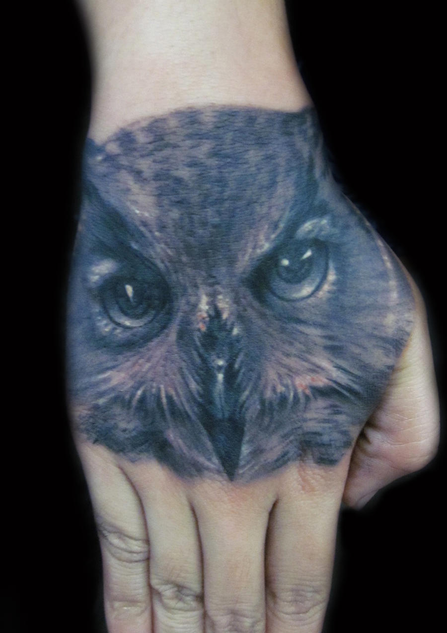 Owl Tattoo on hand by