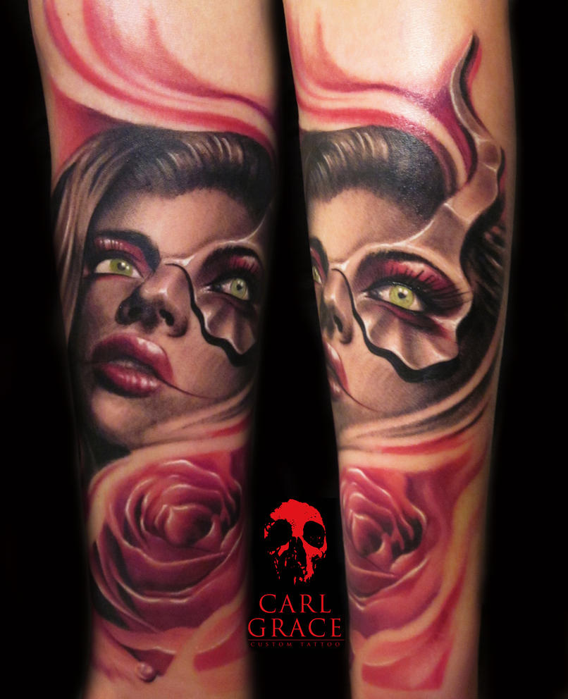 girl tattoo with rose by hatefulss
