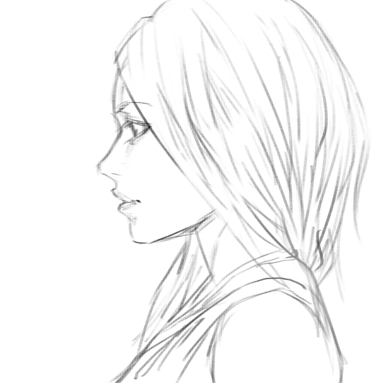 Girl side view-sketch ...