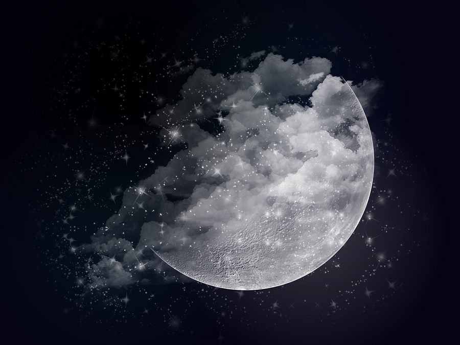 It is a photo of Handy Photoshop Moon Drawing