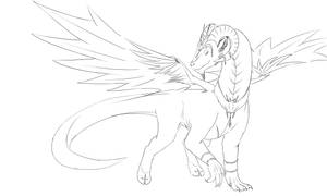 Goat Dragon (Line Art) by patbunNF