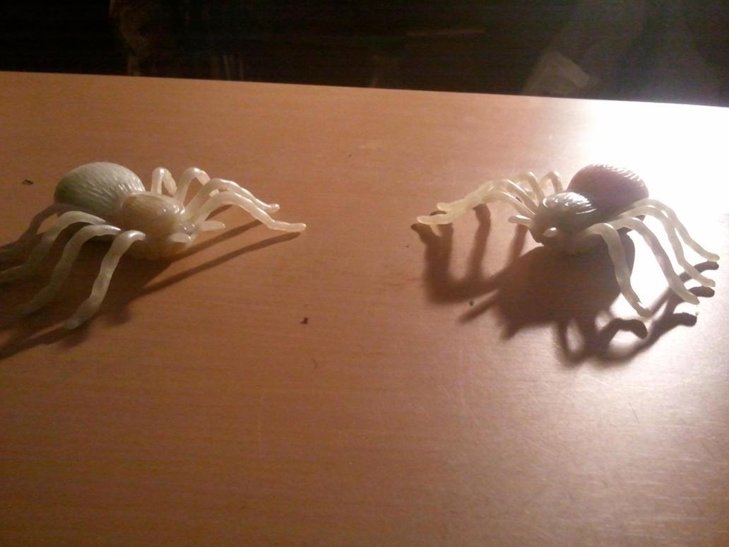Two Glow in the dark Flocked Tarantulas by BenorianHardback26