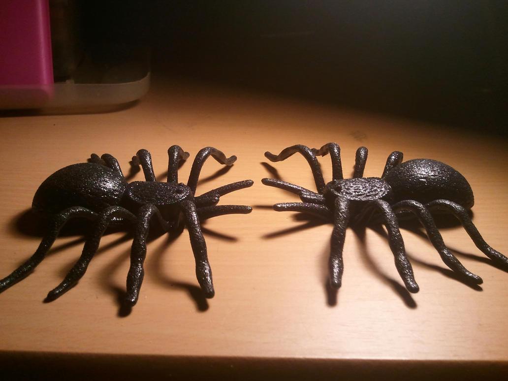 Two Black Glitter Tarantulas by BenorianHardback26