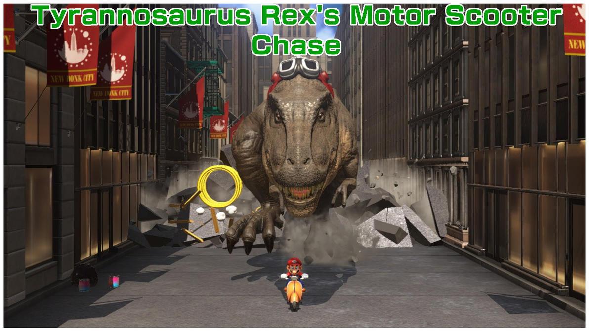 Tyrannosaurus Rex's Motor Scooter Chase by BenorianHardback26