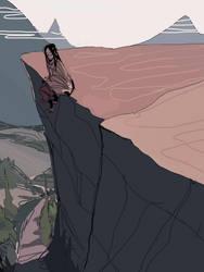 asakura hao on a cliff by javvie