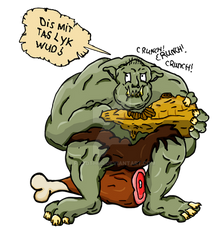 Troll Eating wood