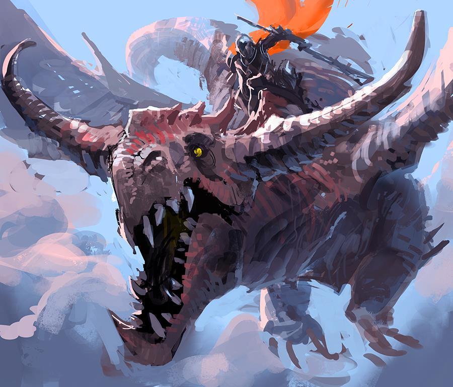 Galeria de Arte: Ficção & Fantasia 1 - Página 2 Dragon_rider_30min_by_rawwad-d7a127h