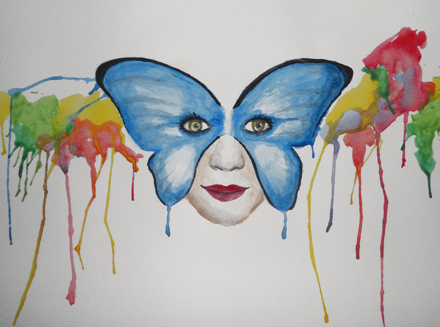 Watercolor Faces Painting Watercolor Butterfly Face by