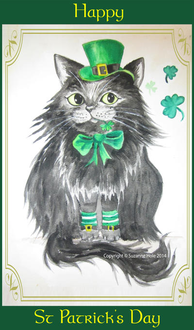 Happy St Patrick's Day - Black cat by SuzanneHole