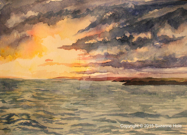 Sunset at Hook Head looking towards Dunmore East by SuzanneHole