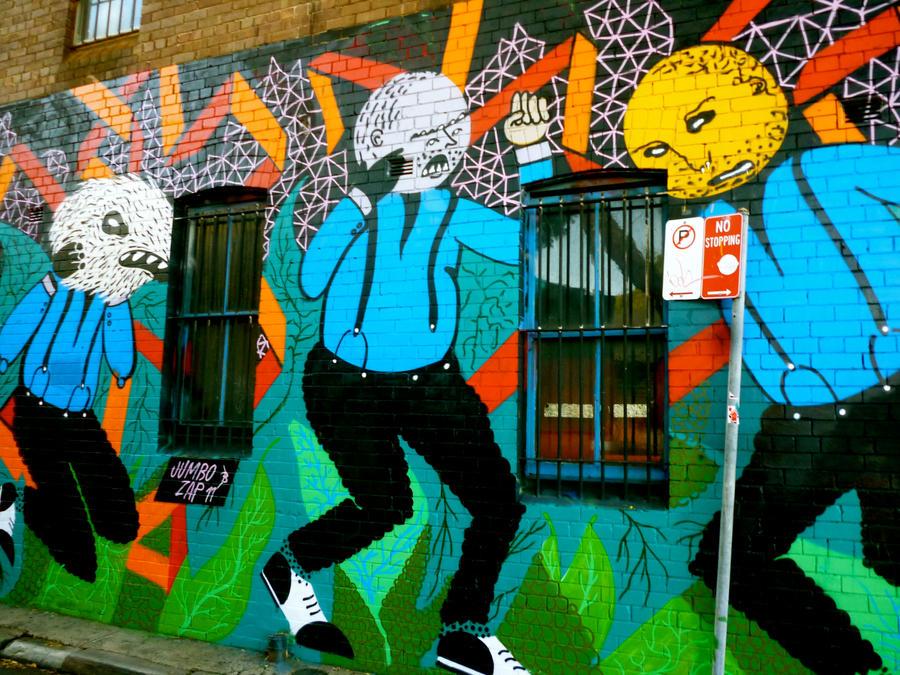 Street art - 3 kids in caricature by Geoperno