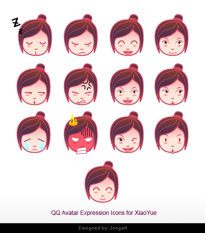 Cute avatar expression icons by jongart