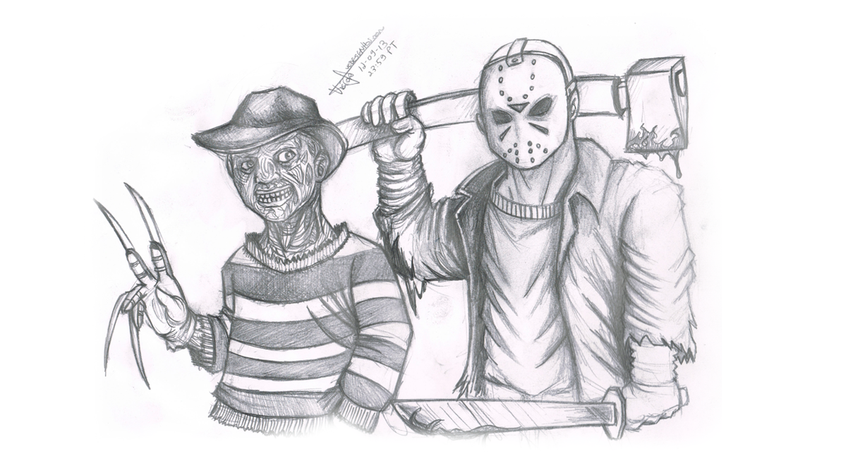 Jason Voorhees And Freddy Krueger By Vcdesenhos On Deviantart