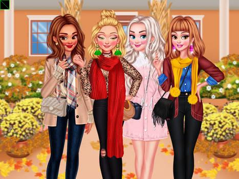 Moana, Rapunzel, Elsa and Belle