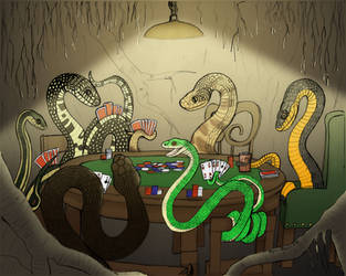 Snakes Playing Poker by MeganMosier