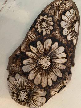 Wood-burned flowers