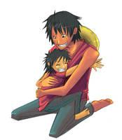 Luffy and Child by RoroZoro