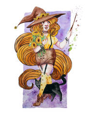 SunFlower Witch - Watercolor