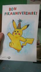 [Watercolor pencils] Pikachu BDay Greeting Card by Ishimaru-Chiaki