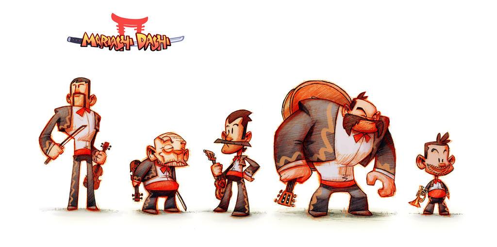 Mariachi-Dachi character lineup by TheGreyNinja