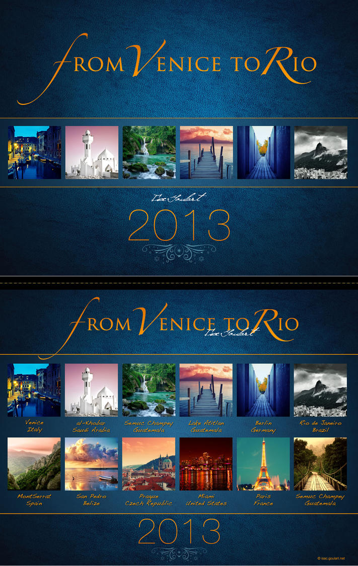 From Venice to Rio - 2013 Calendar by IsacGoulart