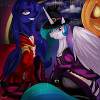 Trick or treat? Celestia and Luna by Dragk