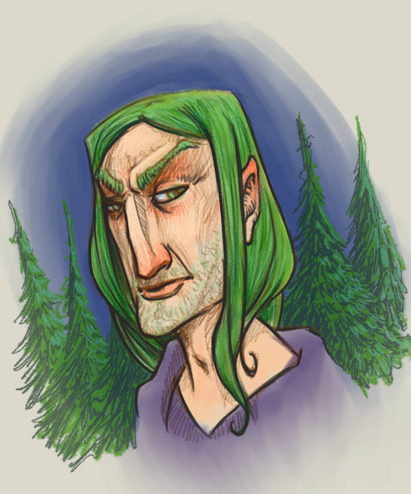 Green Haired Elf By Daedaljs On Deviantart