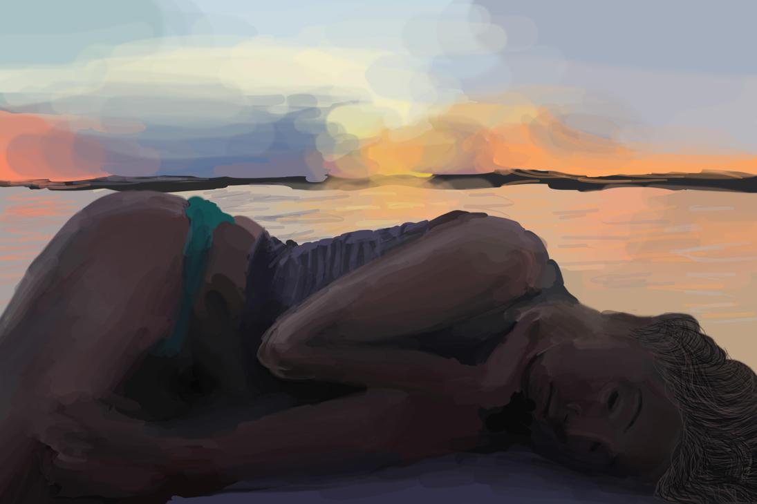 sleepy beach girl by kyl3r
