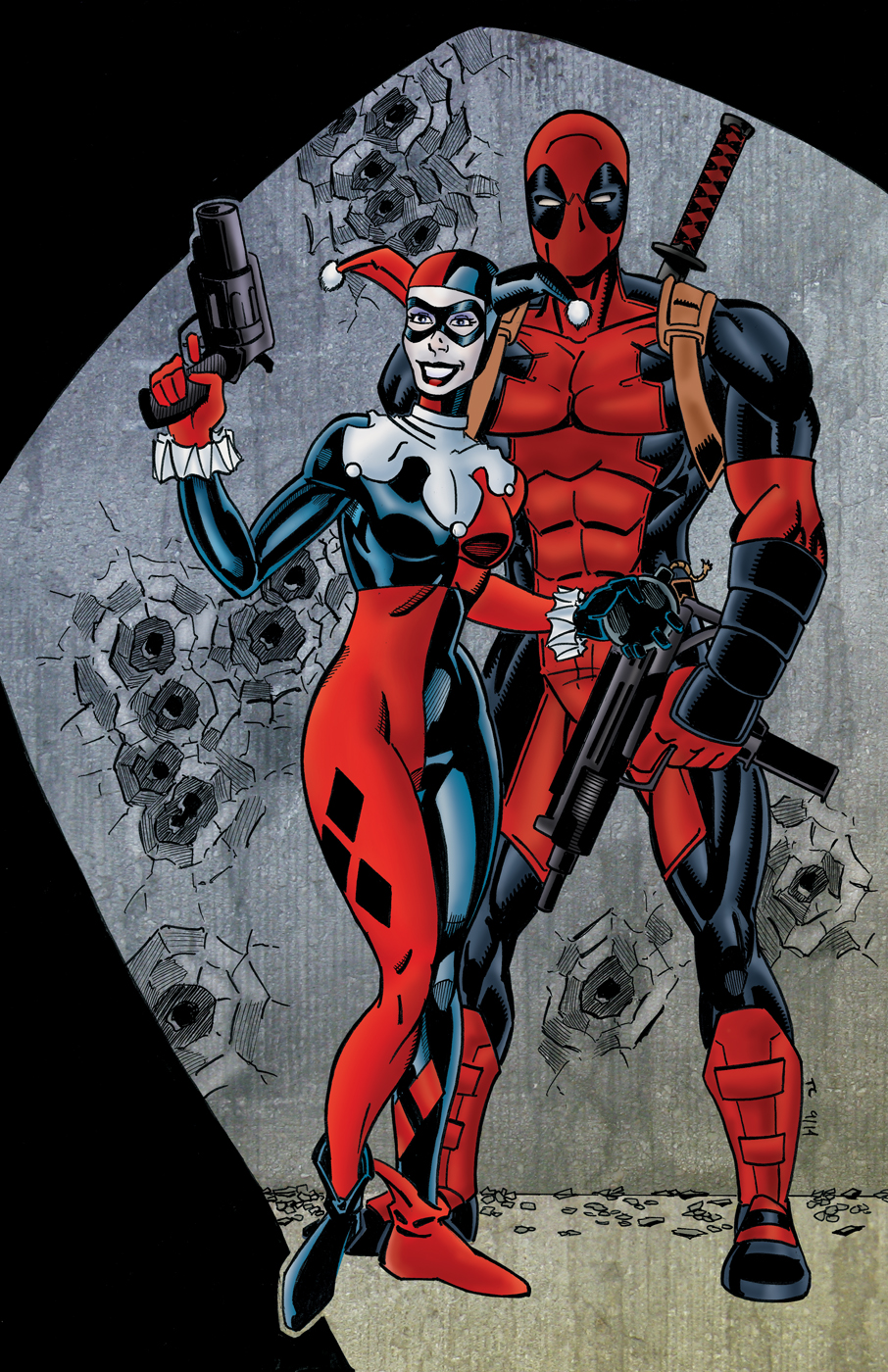 Harley quinn and deadpool colored by ninjaspidey on deviantart - Deadpool harley quinn ...