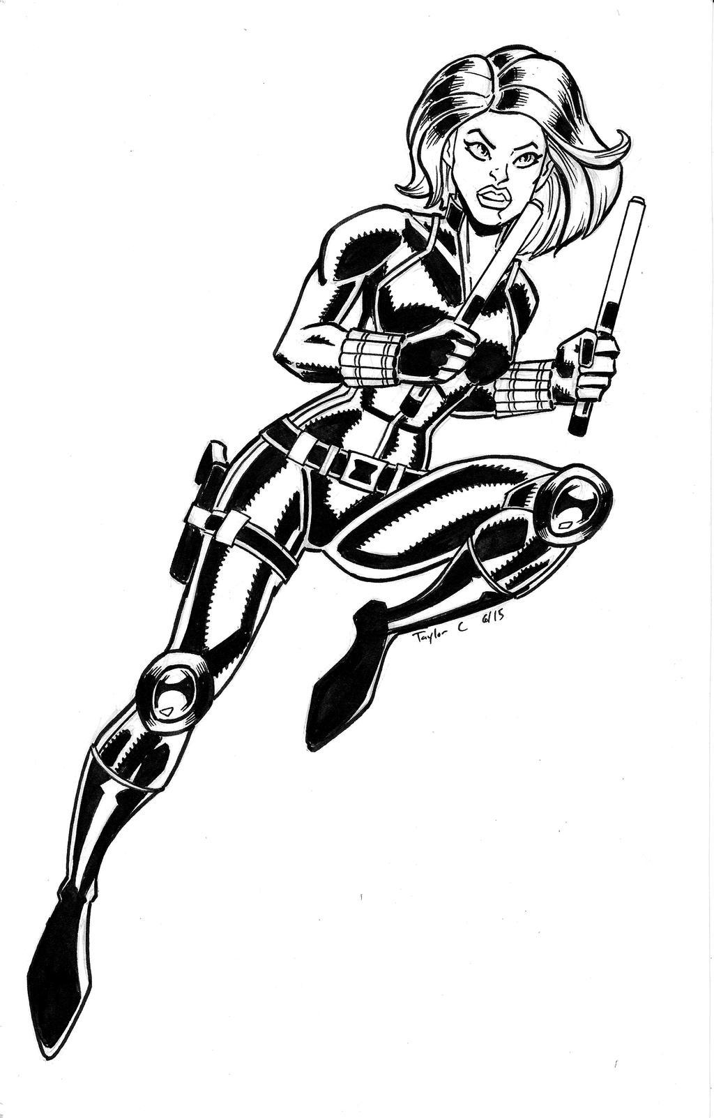 Black widow sketch by ninjaspidey on deviantart for Black widow coloring page