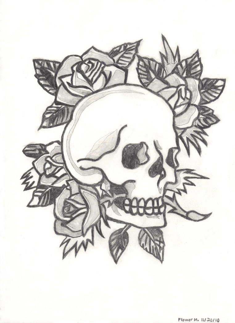 Skull And Roses Drawings Easy Sketch Coloring Page