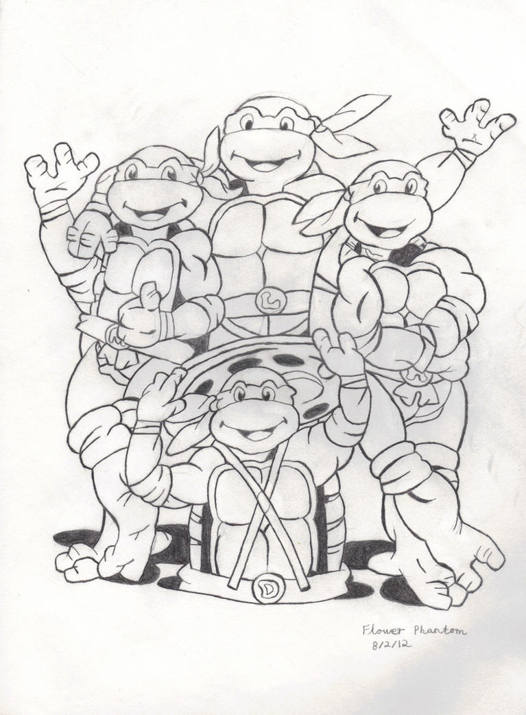 Line Art Ninja Turtles : Teenage mutant ninja turtles by flowerphantom on