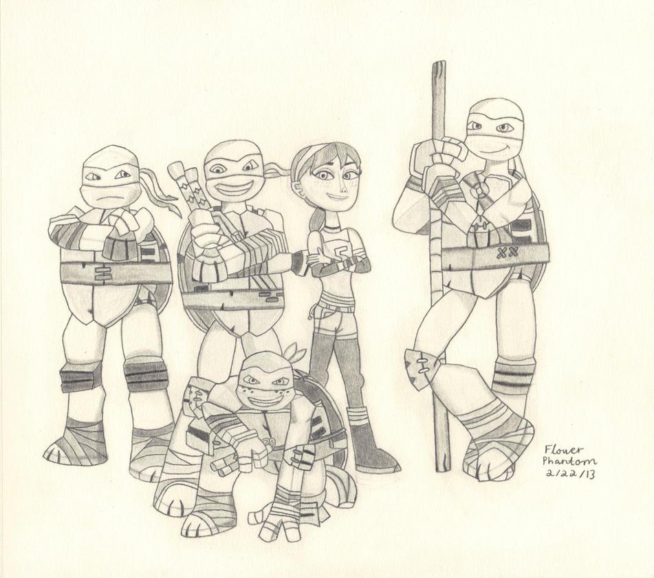 tmnt coloring pages nick - 2012 teenage mutant ninja turtles gang by flowerphantom on
