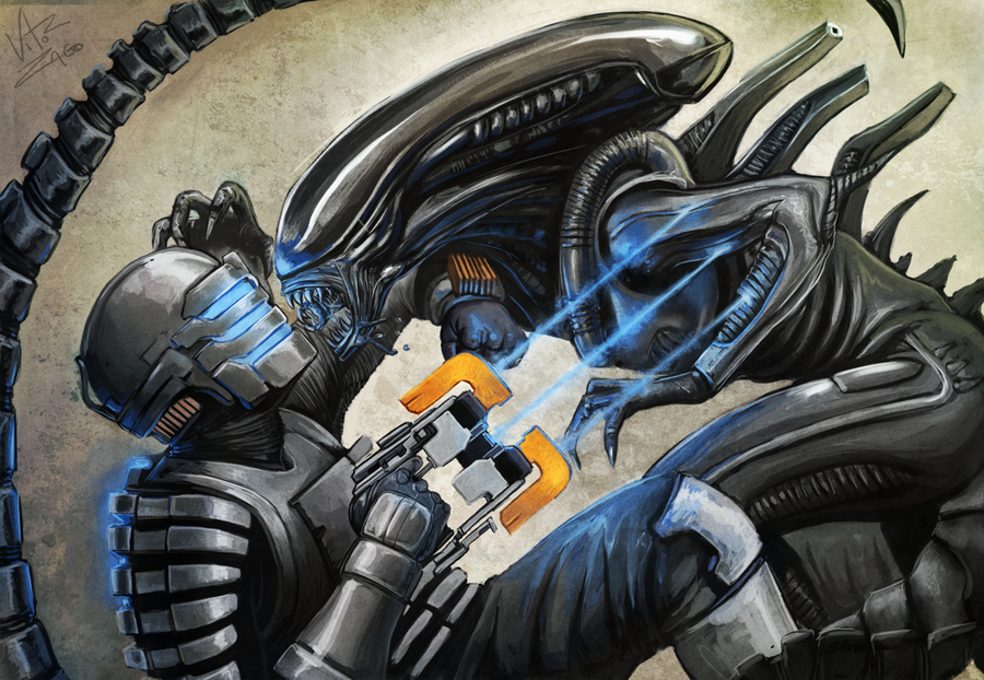alien vs dead space by Garatuja-Ilustra