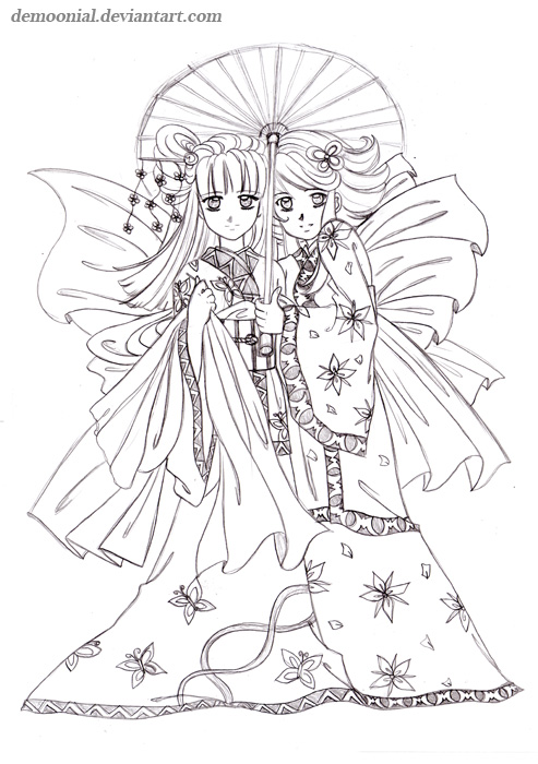 Japanese kimono designs coloring book sketch coloring page - Manga 0 colorier ...