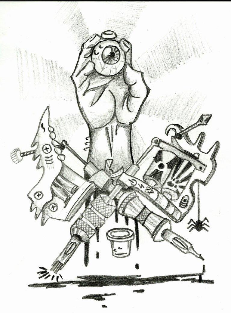 Tattoo design: Machine  |Tattoo Gun Drawing