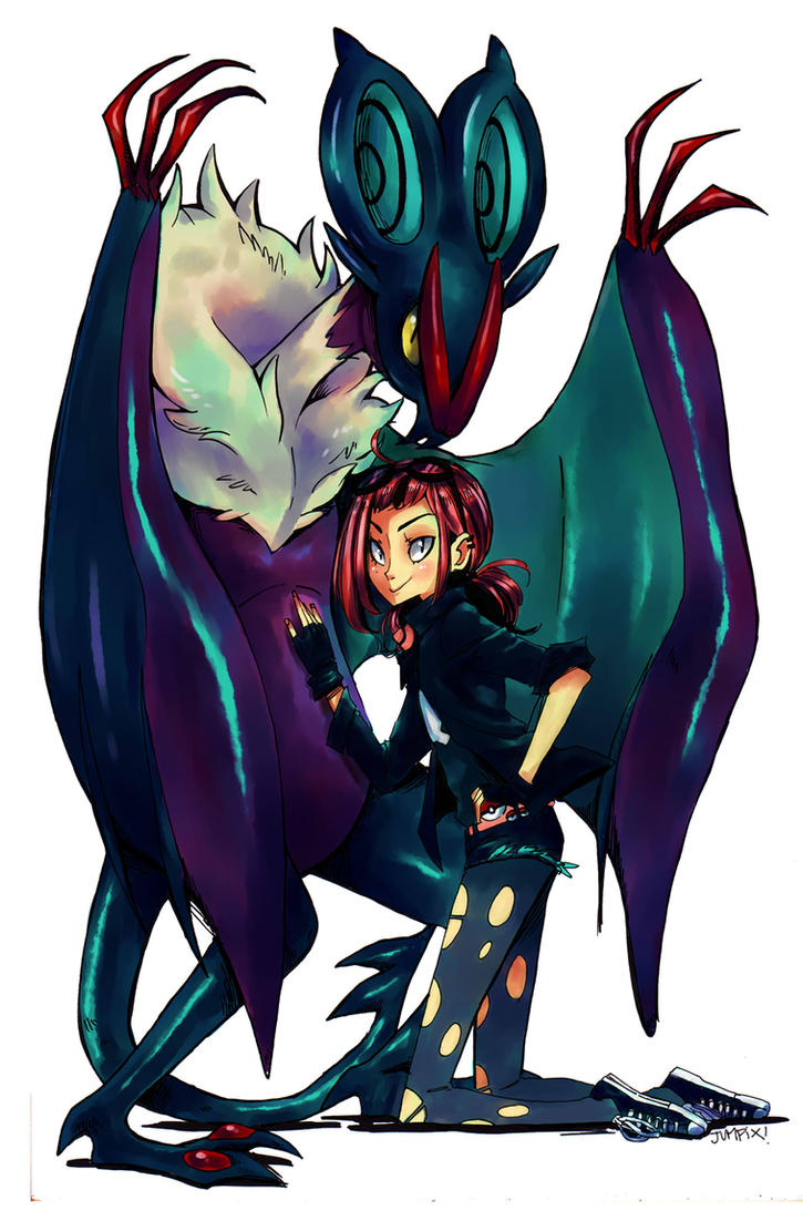 Trainer and Noivern by Jumpix