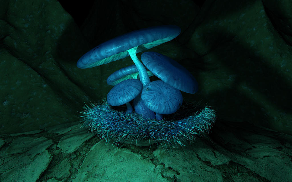 Blue Fungus by At0mArt