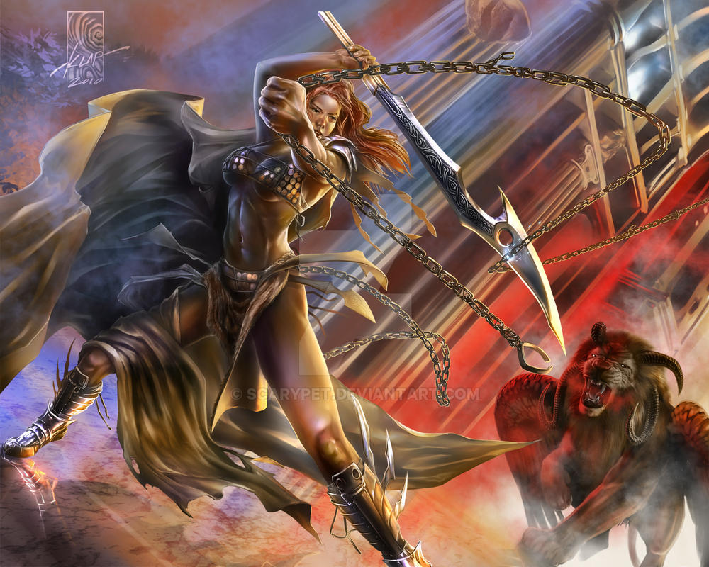 Red Sonja vs. 'THE' Lion-thing by scarypet
