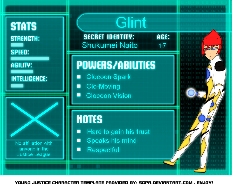 Young Justice OC Glint by LiveFree116 on DeviantArtYoung Justice Season 3 Character Bios