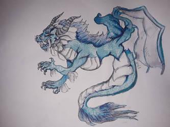 Dragon blue mixed media