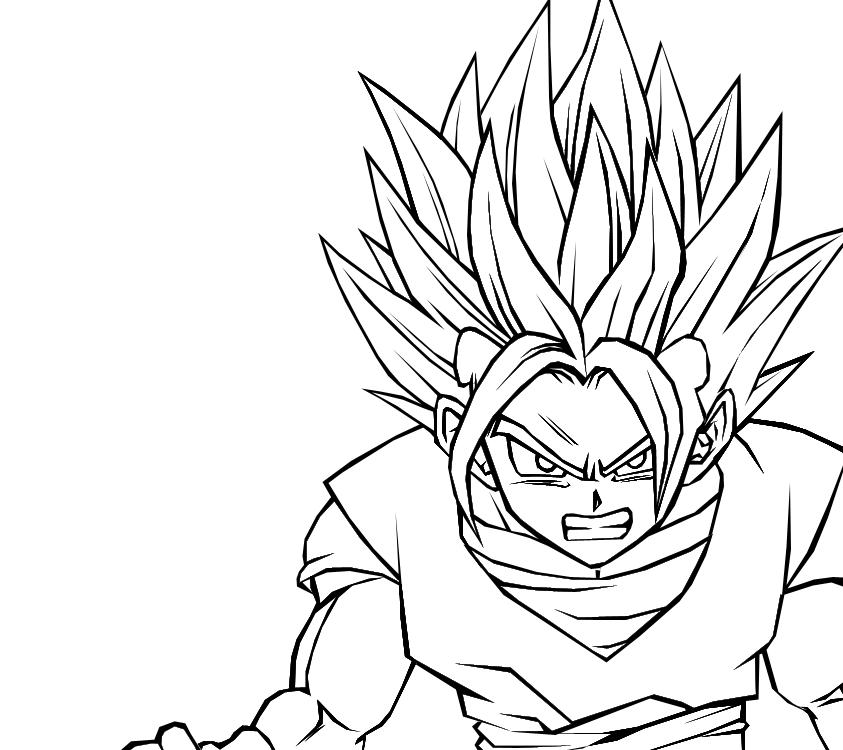 Super saiyan 2 gotan by darkhawk5 on deviantart for Super saiyan coloring pages